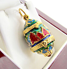 ONE OF A KIND SOLID STERLING SILVER 925 & 24K GOLD EGG PENDANT W/ CHRISTMAS TREE