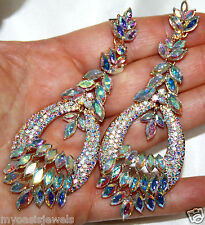 Drag Queen Chandelier Earrings Rhinestone Crystal Bridal Prom Pageant 3.9 in AB