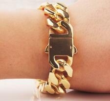 20mm 8.66'' Gold Stainless steel Huge Square Curb Cuban Chain Men's New Bracelet
