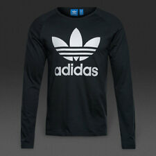 LARGE adidas Originals Classic Men's Trefoil LONG SLEEVE TEE Cotton  Black White