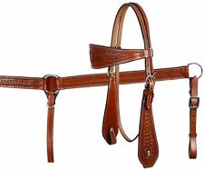 Showman MEDIUM OIL Basket Tooled Headstall/Breast Collar Set! NEW HORSE TACK!