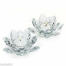 Set of 2 Exquisite Godinger Fine Crystal Lotus Tea Light Candle Holders w Candle
