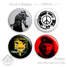 "Metal Gear Solid 4 PEACE WALKER Snake-1"" Badge x4 Badges NEW - Set 2"