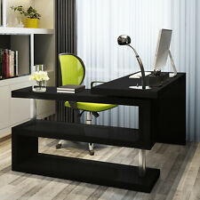 Large Computer Desk Modern Corner Compact Office Writing Table Executive Black
