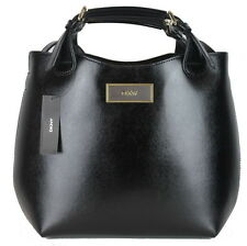 NWT DKNY Black Shiny Saffiano Leather Satchel Convertible Shoulder Bag Tote $248