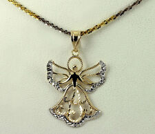 Two Tone 10 Gold Angel Fairy Godmother Pendant Sterling Silver Fancy Necklace