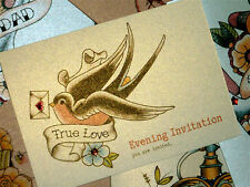 Swallow and love letter vintage tattoo evening wedding invitations
