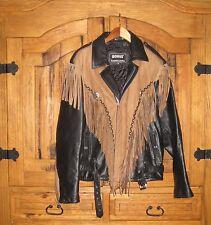 BONUS genuine black leather and suede motorcycle jacket