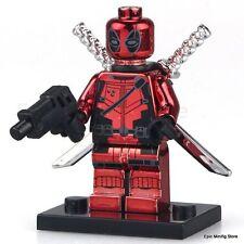 Custom DEADPOOL IN CROMO minifigura Lego Marvel Comics si adatta pg402 Venditore Regno Unito