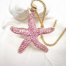 Fashion Jewelry Pink Crystal Big Starfish Charm Pendant Necklace Sweater Chain