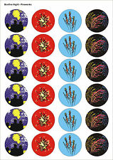 24X PRECUT BONFIRE NIGHT FIREWORKS 2 EDIBLE WAFER CUPCAKE CAKE TOPPERS 1435