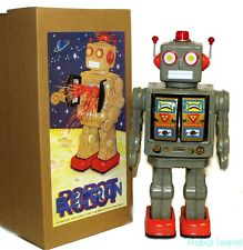 ME100 Robot Tin Toy Battery Operated Army Green with Gold Doors Version NEW!