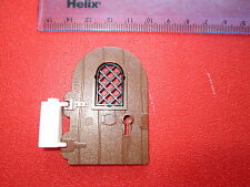 Lego Large BROWN Door 1 x 4 x 6 Round Top with Arch Window and Keyhole - Castle