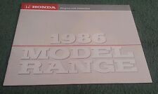 1986 HONDA UK RANGE BROCHURE Civic CRX Shuttle Integra Aerodeck Accord Prelude