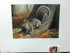 1989 North Carolina Sportsman License Stamp Print by Louque featuring Squirrel