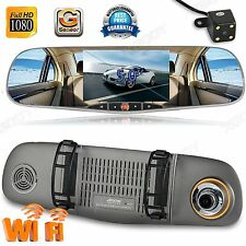 "WiFi Dual Lens 5"" HD 1080P Car DVR Video Recorder Rearview Mirror Dash Camera"