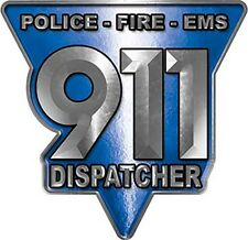 """911 Police Fire EMS Dispatcher Decal In Blue 6"""" REFLECTIVE LE02"""