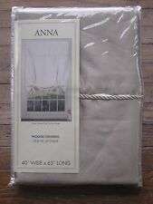 NEW United Curtain Anna Faux Silk Tie Up Window Shade 40 x 63 Inch Taupe