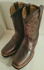 Men's cowboy western boots Genuine Cowhide Leather square toe rodeo brown 11