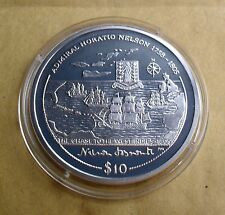 2005 b.v.i $10 ARGENTO PROOF ADMIRAL Horatio Nelson Chase to INDIES 1805 West
