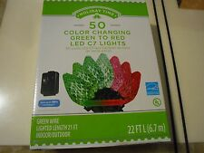 50 Holiday Time Diamond Cut C7 LED Color Changing Christmas Lights, Green To Red