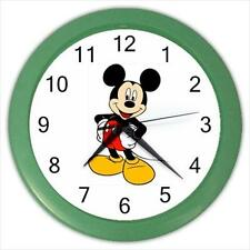 """Brand New Mickey Mouse Green Frame 10"""" Round Wall Clock"""