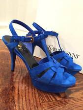 NIB Yves Saint Laurent YSL Tribute 75 Blue Electric Suede Pump Heel 38 $945