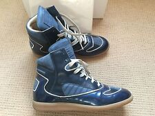Maison Martin Margiela Cadillac Blue Leather  Hi Top Sneakers 44