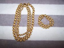 Vintage Estate Vendome 3 Strand Necklace & Bracelet Brushed Gold Tone Stunning!