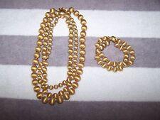 Vintage Estate Vendome 3 Strand Necklace & Bracelet Brushed Gold Tone Stunning!