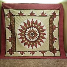 """Giant Dahlia Compass""  QUILT  Handmade by Amish-Mennonite Seamstresses"