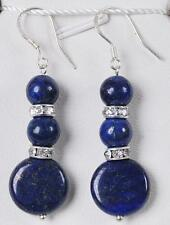 Fashion 6mm round /12mm lapis lazuli coin Silver Hook Dangle earrings AAA