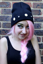 BLACK DAISY CHAIN BEANIE HAT KAWAII CUTE INDIE HIPSTER GRUNGE BEENIE FASHION