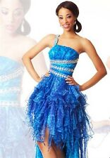 2014 Blue Leopard One Shoulder Prom Dress, Size 4.