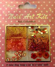 """""""NAIL ART KIT 09"""" 3d SET ROSSO DECORAZIONE CUORI-FIORI-Glitter-FIMO"""