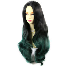 AMAZING Style Black Brown & Green Long Wavy Lady Wigs Dip-Dye Ombre hair WIWIGS