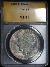 1923 ANACS MS64 Colorful Toned Peace Dollar