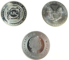 3x SILVER BULLION COINS 3oz 1x AMERICAN EAGLE 1xABC BULLION 1x KANGAROO BULLION