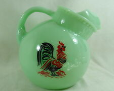 Ball Juice Pitcher Jadeite Colorful Rooster 40 ounce Jadite Jade Glass