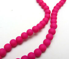 New 50PCS 6mm Deep Rose Color Matte Rubber Round Glass Spacer Chram Beads