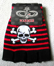 BLACK & RED SKULL & CROSSBONES STRIPE SHORT FINGERLESS GLOVES PUNK CYBER WARM