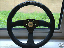 350mm KEY's Style Low Leather Deep Dish Steering Wheel OMP MOMO Nardi Drift