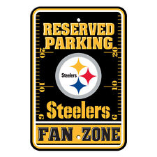 """New NFL Pittsburgh Steelers Fan Zone Parking Sign 12"""" x 18"""" Made in USA"""