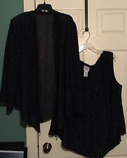 R&M RICHARDS GLITTER BLOUSE WITH MATCHING JACKET 24W Club Wear