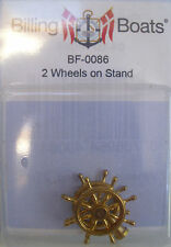 Billing Boats Accessory BF-0086 -1 x 25mm 2 Brass Ships Wheels on Stand New Pack