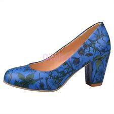 New Womens Girls Thick High Heel Slip on Classic Pumps Shoes OL Floral Plus Size