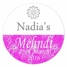 20 Personalised Mehndi Wedding Floral Henna Stickers Favour Decorations SC0116