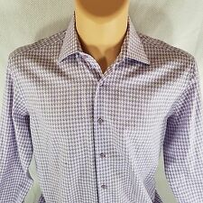 Denis Jaouich Montreal Designer Mens 16 Purple White Dress Shirt French Cuffs