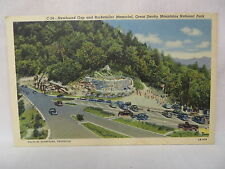 VINTAGE LINEN POSTCARD NEWFOUND GAP & ROCKEFELLER MEMORIAL SMOKY MOUNTAINS TN