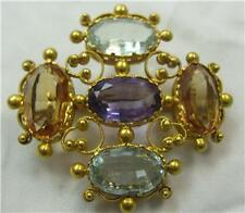 Rare Early 18ct gold Georgian Aquamarine Topaz Amethyst large  brooch stomacher